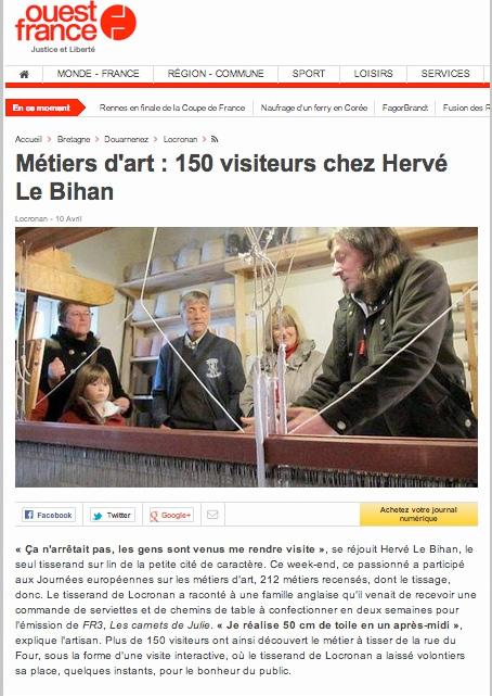 Ouest France : 150 visiteurs chez Hervé Le Bihan