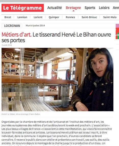 Le Télégramme : le tisserand Hervé Le Bihan ouvre ses portes