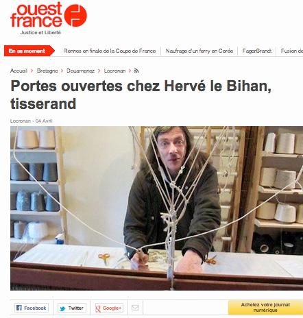 Ouest France : Portes ouvertes chez Hervé le Bihan, tisserand